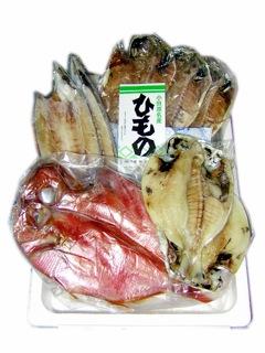 早瀬の干物セット 真あじ3枚、いぼ鯛2枚、かます2枚、金目鯛1枚